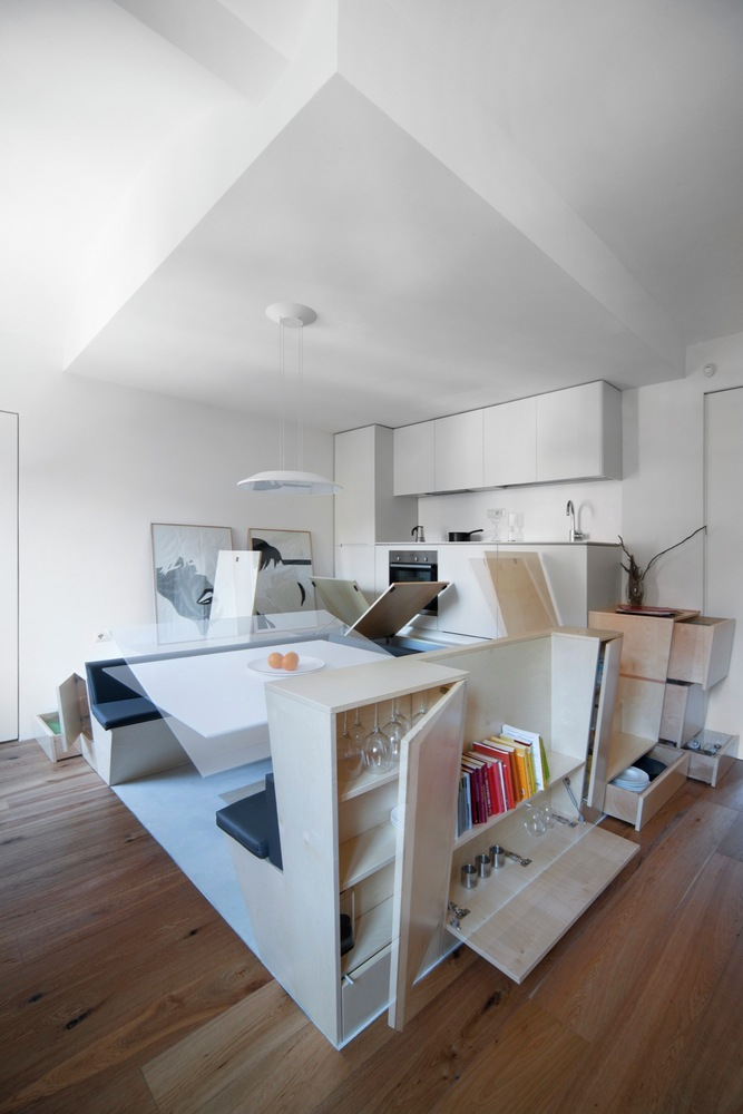 Turin apartment renovation custom storage options