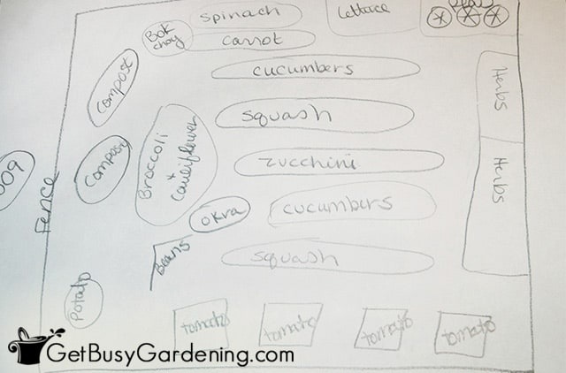 Simple drawing of my 2009 veggie garden design